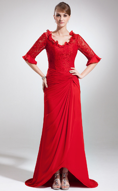 A-Line/Princess V-neck Asymmetrical Chiffon Lace Mother of the Bride Dress With Ruffle (008005945)
