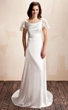 Vestidos princesa/ Formato A Capuz Cauda de sereia Charmeuse Vestido de noiva com Pregueado Renda Curvado (002012560)