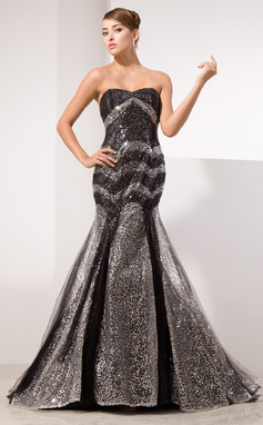 Trumpet/Mermaid Sweetheart Court Train Tulle Sequined Prom Dress (018014474)