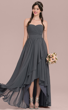 A-Line/Princess Sweetheart Asymmetrical Chiffon Bridesmaid Dress With Cascading Ruffles (007126464)