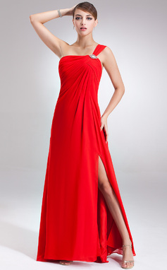 Empire One-Shoulder Floor-Length Chiffon Prom Dress With Ruffle Beading Split Front (018135255)