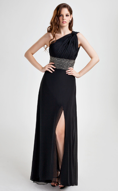 A-Line/Princess One-Shoulder Floor-Length Chiffon Holiday Dress With Ruffle Beading Split Front (020015772)