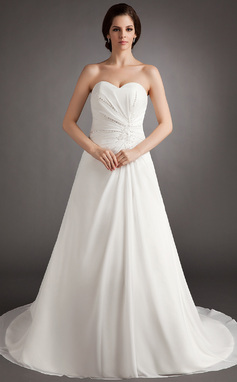 A-Line/Princess Sweetheart Court Train Chiffon Wedding Dress With Ruffle Beading (002011792)