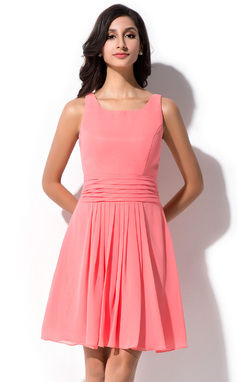 A-Line/Princess Square Neckline Knee-Length Chiffon Bridesmaid Dress With Ruffle (007050348)