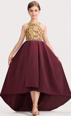 A-Linie U-Ausschnitt Asymmetrisch Satin Spitze Kleid für junge Brautjungfern mit Perlstickerei Schleife(n) (009191712)