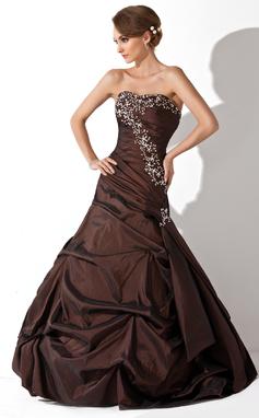 Trompete/Meerjungfrau-Linie Herzausschnitt Bodenlang Taft Quinceañera Kleid (Kleid für die Geburtstagsfeier) mit Rüschen Perlen verziert Pailletten (021020646)