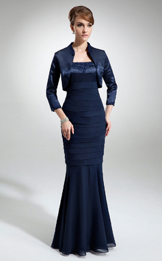 Trumpet/Mermaid Square Neckline Floor-Length Chiffon Charmeuse Mother of the Bride Dress With Lace Beading (008006188)