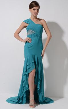 Trompete/Meerjungfrau-Linie One-Shoulder-Träger Asymmetrisch Chiffon Festliche Kleid mit Perlen verziert Pailletten Gestufte Rüschen (020050395)