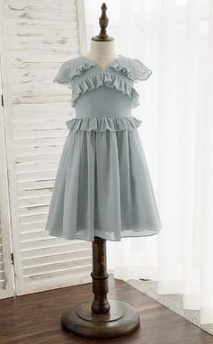 Corte A Coquetel Vestidos de Menina das Flores - Tecido de seda Sem magas Decote V com Pregueado (010172335)