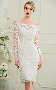 Sheath/Column Off-the-Shoulder Knee-Length Lace Wedding Dress (002095852)