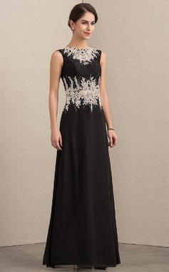 Vestidos princesa/ Formato A Decote redondo Longos Tecido de seda Renda Vestido para a mãe da noiva com Beading (008152145)