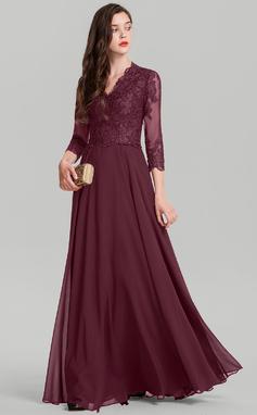 Vestidos princesa/ Formato A Decote V Longos Tecido de seda Vestido de festa (017126609)