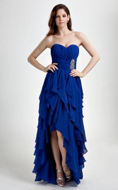 A-Line/Princess Sweetheart Asymmetrical Chiffon Prom Dress With Beading Cascading Ruffles (018015859)