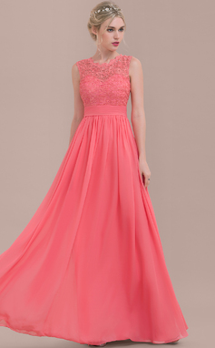 A-Line/Princess Scoop Neck Floor-Length Chiffon Lace Bridesmaid Dress With Ruffle (007116646)