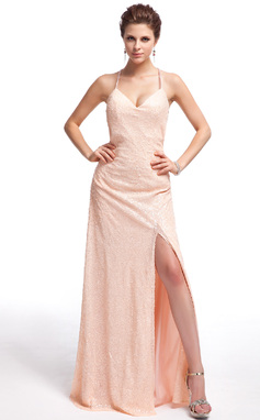 Sheath/Column Sweetheart Floor-Length Sequined Prom Dress With Split Front (018019672)