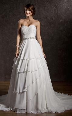 De baile Coração Cauda de sereia De chiffon Vestido de noiva com Pregueado Bordado Lantejoulas (002011504)