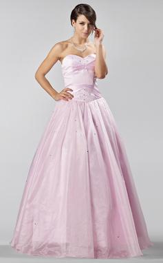 Corte A/Princesa Novio Hasta el suelo Organdí Vestido de baile de promoción con Cuentas (018135546)