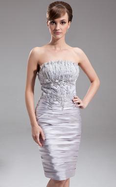 Платье-чехол Волнистый Длина до колен Шармёз Коктейльные Платье с Рябь Бисер (016005853)