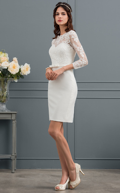 Sheath/Column Scoop Neck Knee-Length Satin Wedding Dress With Sequins Bow(s) (002153437)