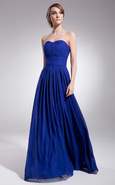Vestidos princesa/ Formato A Coração Longos De chiffon Vestido de madrinha com Pregueado (007051836)