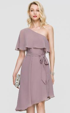 Corte A Um ombro Assimétrico Tecido de seda Vestido de cocktail (016197081)