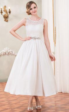 A-formet/Prinsesse Scoop Hals Te-lengde Taft Blonder Brudekjole med Perlebesydd Paljetter (002050389)