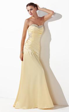 Corte A/Princesa Escote corazón Hasta el suelo Charmeuse Vestido de baile de promoción con Volantes Bordado Lentejuelas (018004827)