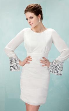 Платье-чехол Круглый Мини-платье шифон Платье для Встречи Выпускников с Рябь Бисер (022009562)