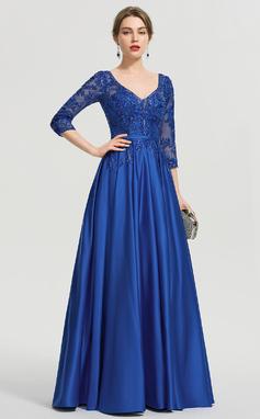 Платье Для Балла/Принцесса V-образный Длина до пола Атлас Вечерние Платье с блестки (017211382)