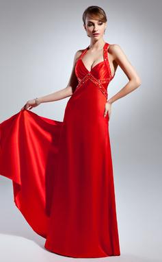 Corte A/Princesa Escote en V Hasta el suelo Charmeuse Vestido de baile de promoción con Bordado (018015072)