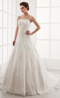 Corte A/Princesa Estrapless Tren de la catedral Encaje Vestido de novia con Bordado (002011586)