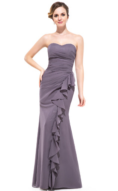 Trumpet/Mermaid Sweetheart Floor-Length Chiffon Bridesmaid Dress With Cascading Ruffles (007051393)