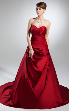 Ball-Gown Sweetheart Cathedral Train Satin Wedding Dress With Ruffle (002015383)