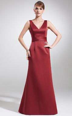 A-Line/Princess V-neck Floor-Length Satin Mother of the Bride Dress (008016181)