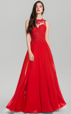 Vestidos princesa/ Formato A Decote redondo Longos Tecido de seda Vestido de festa (017126603)
