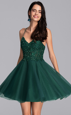 A-Line V-neck Short/Mini Tulle Homecoming Dress With Beading Sequins (022206530)