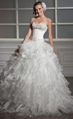 Платье для Балла В виде сердца Длина до пола Атлас Органза Свадебные Платье с Бисер блестками Ниспадающие оборки (002013819)