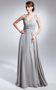 Empire V-neck Floor-Length Chiffon Mother of the Bride Dress With Ruffle Beading (008015070)