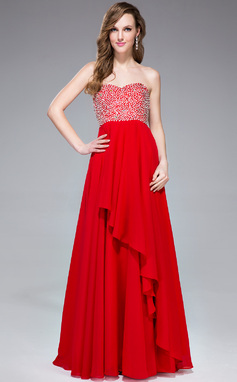 Empire Sweetheart Floor-Length Chiffon Prom Dress With Beading Sequins Cascading Ruffles (018041050)