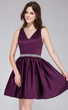 A-Line/Princess V-neck Short/Mini Satin Bridesmaid Dress With Beading (020037398)