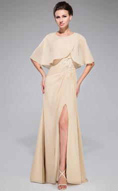 A-Linie/Princess-Linie One-Shoulder-Träger Bodenlang Chiffon Kleid für die Brautmutter mit Rüschen Perlen verziert Pailletten Schlitz Vorn (008042329)