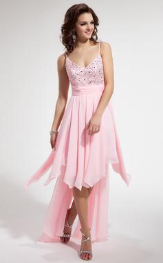 Vestidos princesa/ Formato A Decote V Assimétrico De chiffon Vestido de boas vindas com Bordado Babados em cascata (022009543)