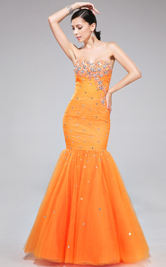 Trumpet/Mermaid Sweetheart Floor-Length Tulle Prom Dress With Ruffle Lace Beading (007040816)