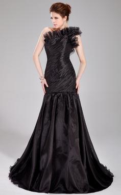 Trumpet/Mermaid One-Shoulder Sweep Train Organza Prom Dress With Ruffle (018020777)