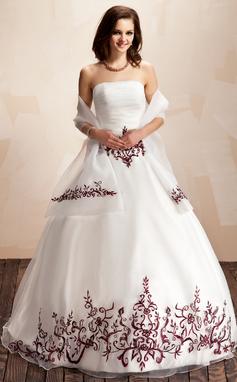 Платье для Балла Без лямок Длина до пола Органза Пышное платье с Вышито Рябь развальцовка блестки (021003131)