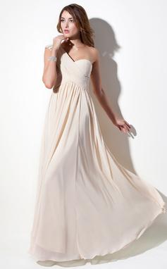 Vestidos princesa/ Formato A Um ombro Longos De chiffon Vestido de Férias com Pregueado Renda Bordado (020016076)