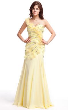 Vestidos princesa/ Formato A Um ombro Longos De chiffon Vestido de baile com Pregueado Bordado fecho de correr Lantejoulas (018025283)