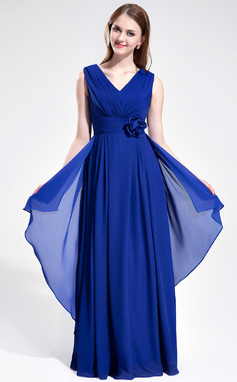 A-Line/Princess V-neck Floor-Length Chiffon Bridesmaid Dress With Ruffle Flower(s) (007025360)