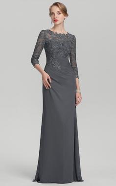 A-formet/Prinsesse Scoop Hals Gulvlengde Chiffong Blonder Kjole til brudens mor med Frynse (008114260)
