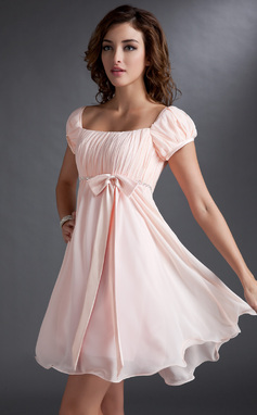 Empire Square Neckline Short/Mini Chiffon Bridesmaid Dress With Ruffle Beading Sequins Bow(s) (007051831)